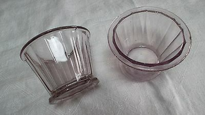 French antique ribbed cone-shaped jam jelly glass jars w pedestal bubbles 1800's