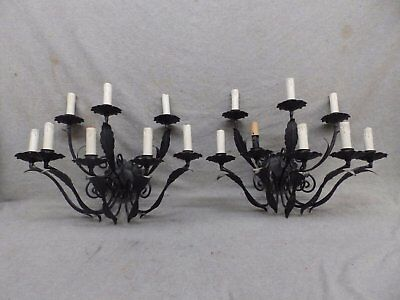 Pair Antique 8-Arm Iron Light Fixture Wall Candelabra Sconce 512-17R