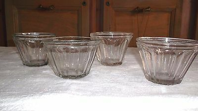 4 French antique ribbed cone-shaped jam jelly glass jars w bubbles 1800