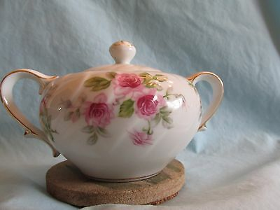 Lynmore Fine China Romance Sugar Bowl with Lid pink roses gold