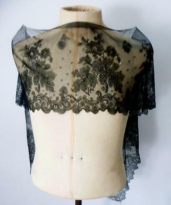 """Private Collection English Lady Ward Handmade Black Lace Panel 64"""" 1.6m c1900"""