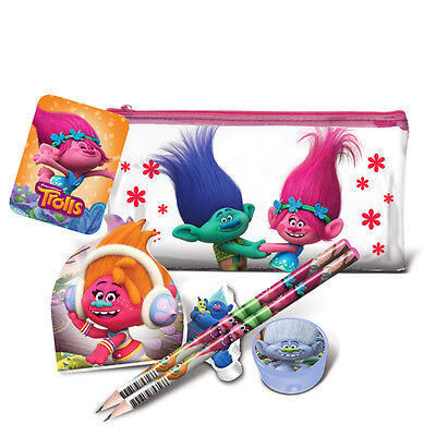 Official Licensed Product Trolls Flat Filled Pencil Case Rubber Note Pad Gift