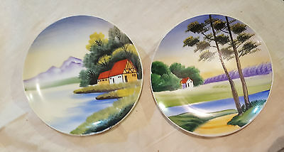 2 Vintage Hand Painted, Scenic China Plates