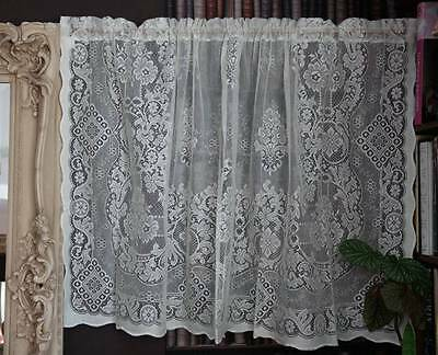 "Jessica  Laura Ashley Victorian style White cotton lace curtain panel 58"" by 36"""