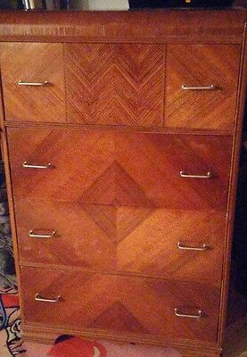 Antique Art Deco Waterfall Highboy Chest Of Drawers