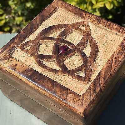 Garnet Protected Triquetra Wooden Carved Trinket Box Spell Witch Wicca Pagan