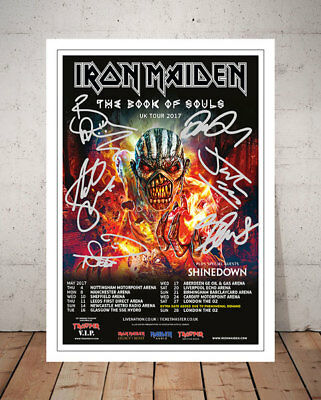 Iron Maiden Book Of Souls  2017 Concert Flyer Autographed Signed Photo Print - 3