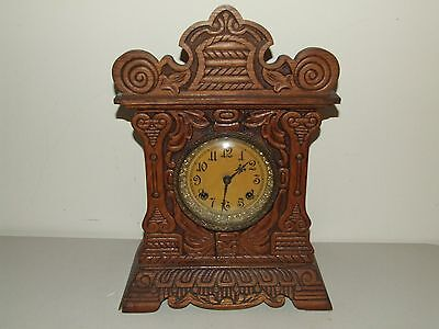 "Antique New Haven ""Congressional Line"" Oak Victorian Parlor Mantel Shelf Clock"