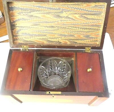 "Superb Scottish Regency Inlaid Tea Caddy c.1820 - With Crystal Bowl - 11"" x 6"""