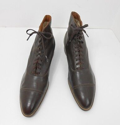 Vintage 1930's Brown Leather Hi-Top Dress Ankle Boots Never Worn Men's Size 7