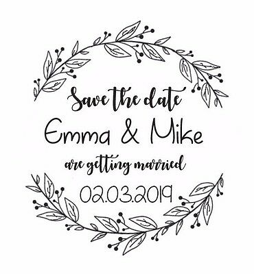"WEDDING STAMP, PERSONALISED BESPOKE INITIALS NAME & DATE 2"" or 50mm"