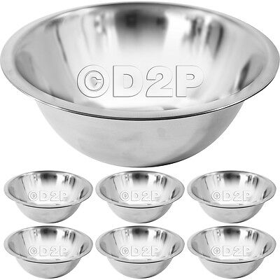 Set Of 6 Stainless Steel 24Cm Deep Mixing Bowls Making Cake Bread Dough Sauces