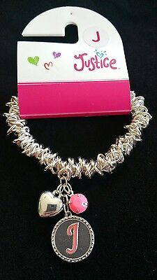 Justice Girls Jewelry Initial Bracelet Letter J Stretchy Heart charm & pink bead