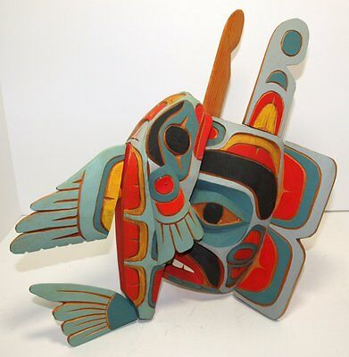 First Nations Salmon On Bear MASK by ED RAUB ~ MiNT