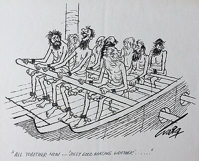Original pen and ink cartoon - sailing boating humour gift - framed