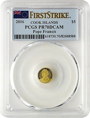 2016 $5 Cook Islands Pope Francis .9999 Gold Coin PCGS PR70DCAM First Strike
