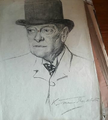 Vintage Art Charcoal Drawing By Kathleen Shackleton Mbe