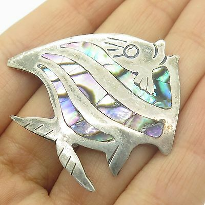 Vtg Mexico 925 Sterling Silver Abalone Shell Tribal Fish Pin Brooch