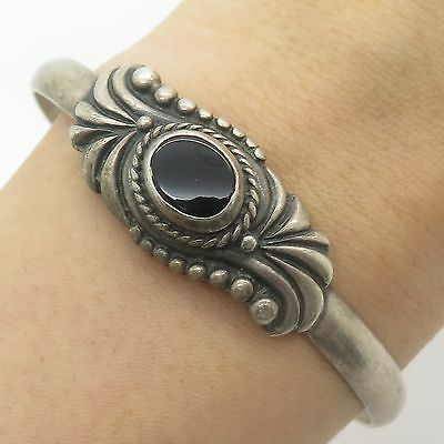 Vtg 925 Sterling Silver Real Black Onyx Gemstone Cuff Bracelet 6 3/4""