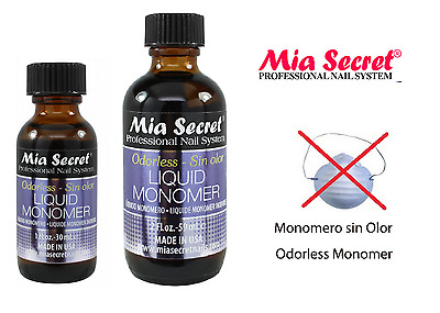 Mia Secret Professional Nail System ODORLESS Liquid Monomer 1oz/2oz made in usa