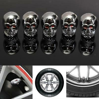 5x Red Eyes Evil Skull Tyre Tire Air Valve Stem Dust Cap for Car Bike Truck