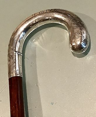 Vintage Late19C-Early 20th Walking Stick Cane Sterling Silver Handle Antique