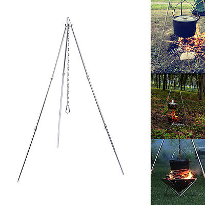 Portable Outdoor Campfire Cooking Tripod Grill Grate Stand Camp Fire Pit Camping