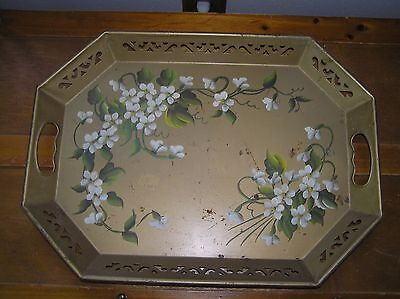 Antique Gilt Painted with White Flowers Tole Octagon Metal Serving Tray Platter