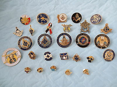 LOT of 28 PCS Different Lapel Pins Masonic Badge Collections Mason Freemanson