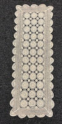 "100% Cotton Handmade Fine Crochet Lace 15x42"" Table Runner Placemat Beige Cream"
