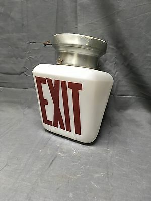 Vtg Exit Sign Ceiling Light Ficture Double Sided Milk Glass Wedge Globe 290-17E