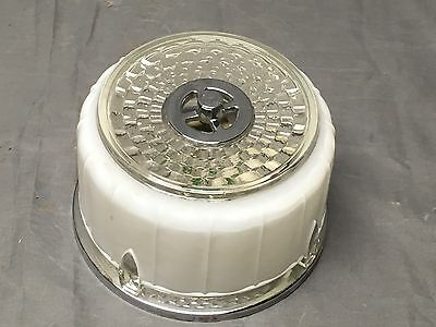Small Vtg Art Deco Chrome Glass Flush Mount Ceiling Light Fixture Bath 297-17E