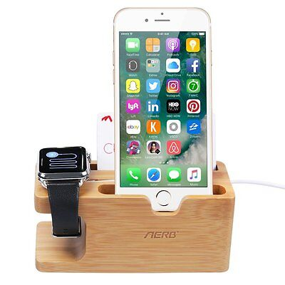 Stand Bamboo Wood Charging Holder W Business Card Slot for iPhone Apple Watch