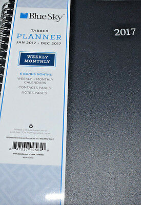 """Blue Sky 2017 Weekly & Monthly Planner, Wire-O Binding, Charcoal Cover, 5"""" x 8"""","""