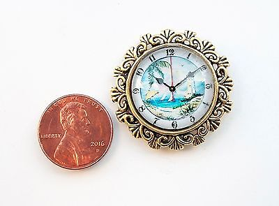 Ornate Retro Style Decor Gold Glass Dome Dollhouse Miniature Wall Clock Reg.$25.