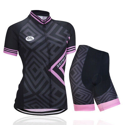 Women's Cycling Set Summer Zip Jersey Shorts Outdoor Sports Riding Race Clothing