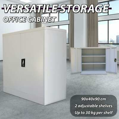 2 Door Office Filing Cabinet Locker Steel Storage Cupboard Stationary Grey 90cm