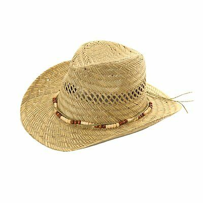 Mens / Womens Straw Cowboy Hat With Bead Band Sun Hat