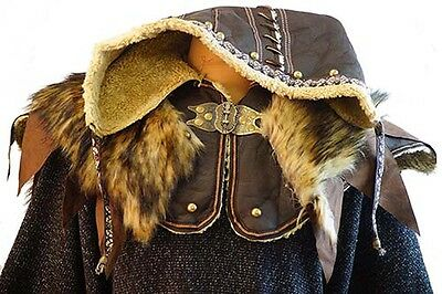 Medieval-Larp-Re enactment-Cosplay-Pirate-Battle Ready ORNATE LEATHER HOOD