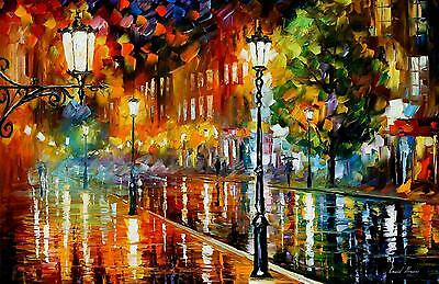 "STREET OF ILLUSIONS — Oil Painting On Canvas By Leonid Afremov.  Size: 36""x24"""