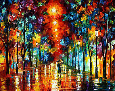 "Night Park — Oil Painting On Canvas By Leonid Afremov. Size: 30""x24 Wall decor"