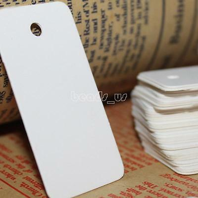 500pcs 25x50mm Jewelry Garment Price Tags Kraft Paper Hang Label White/Khaki