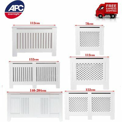 White MDF Radiator Cover Wall Cabinet Grill Small Medium Large Adjustable Sizes