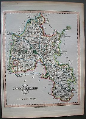 1823 UK Oxfordshire Oxford Witney Henley Thame Antique Hand Colored Cary Map