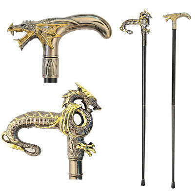 NEW (Set) Dragon Head And Body Pewter Look Handled 37 Inch Metal Walking Canes