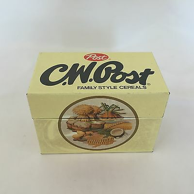 Vintage C. W. POST Family Style Cereal Recipe Box Holder Advertising Tin Metal