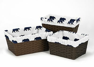 Navy Blue White Bear Organizer Storage Basket Liners Fits Small Medium Large Bin