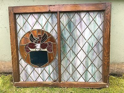 Antique Stained Glass Wood Frame Sash Window