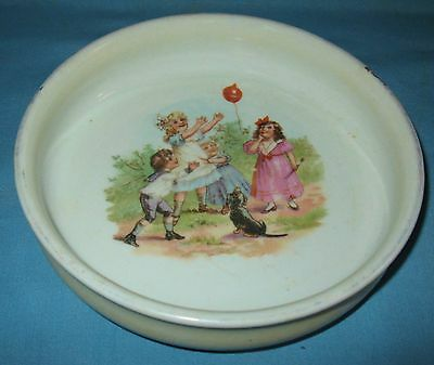 ANTIQUE PORCELAIN TRANSFER DECORATED CHILD's FEEDING BOWL GERMANY CA 1890-1910