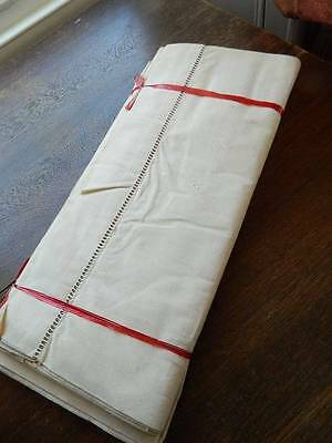 """Pair of vintage UNUSED French natural rustic Metis linen sheets. 88"""" x 114"""""""